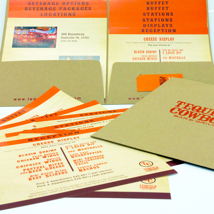 Menus and sales kit printing and design by Jive!