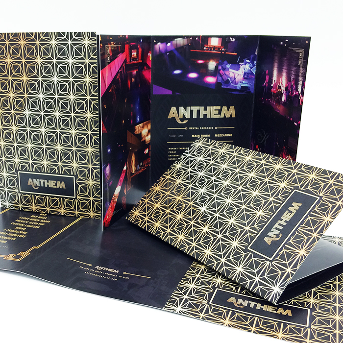 Glamorous event brochure for Anthem