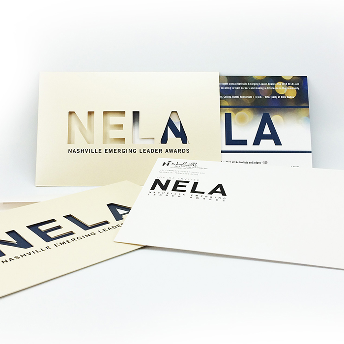 NELA invitatation and envelope letter design and printing